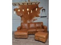 Vintage Distressed Leather Corner Sofa + Footstool Tan