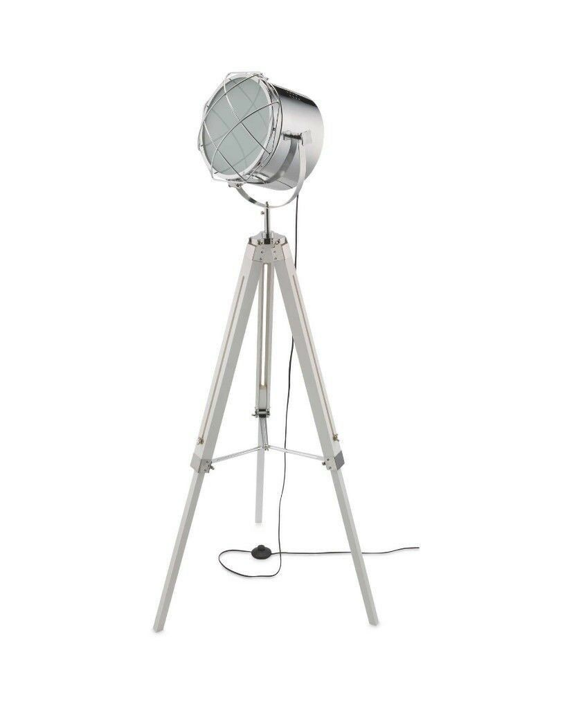 Floor Lamp Tripod Legs Adjustable To 156cm Glass Wood And