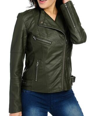 NEW - Kate & Mallory® Faux Leather 2-Pocket Quilted Detail Zip Front Jacket - XS