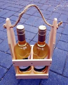 Hand-Made Wooden Double WINE BOTTLE CARRIER HOLDER