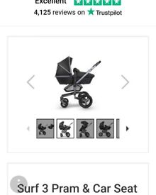 Charcoal grey pram and buggy board
