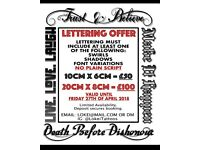 TATTOO LETTERING OFFER