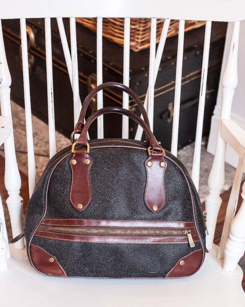 Rare Vintage Mulberry Scotchgrain Bowling Bag