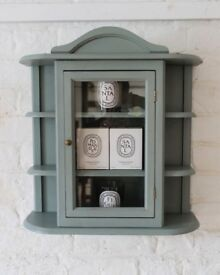 Re-loved (Large) Display Cabinet Hand Painted in Duck Egg Blue Chalk Paint