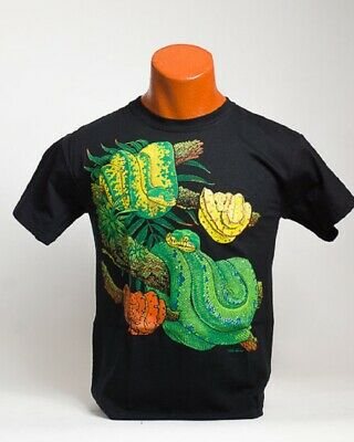 Green Tree Python Adult T-shirt S M L XL XXL  Black Color Reptile Chondro -