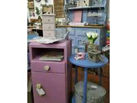 Sweet little bedside cupboard, painted with Annie Sloan Henrietta over Old White
