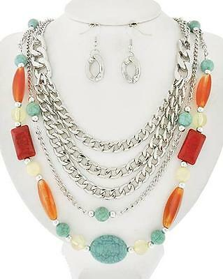 Five Layers Silver Tone Link Multi Color Lucite Bead Necklace Earring Set