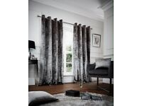 Crushed velvet, fully lined, ring top curtains