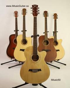 Free Delivery Brand new ! Acoustic Guitar for Beginners Natural iMusic50