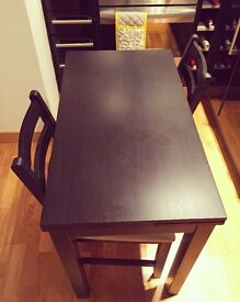 IKEA Bjursta table and 2 Lerhamn chairs