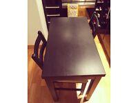 IKEA Bjursta table and 2 Lerhamn chairs
