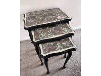 Upcycled vintage black and silver trio of side tables