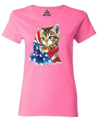 Kitty USA Flag Women's T-Shirt American Flag July 4th Patriotic Cat Lover Shirts ()