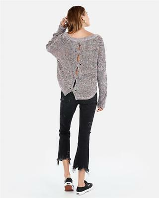 Back Cable Knit Top - NWT EXPRESS cable knit split back cutout sweater shirt top m multi color