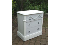Georgian style Small Chest of Drawers - Shabby Chic - White and Grey - Can Deliver