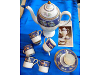 Wedgwood Blue Siam Coffee Jug, 6 cups & saucers, no longer produced, collectable