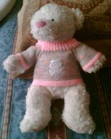 TEDDY BEAR OR DOLLS CLOTHES - PINK JUMPER WITH LACE FLOWER - HAND KNITTED - NEW