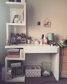 White desk with a lot of storage space