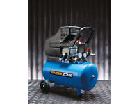 Workzone 24L 2.5Hp Air Compressor Compact Portable Twin Air Outlets 1800W 1.8Kw