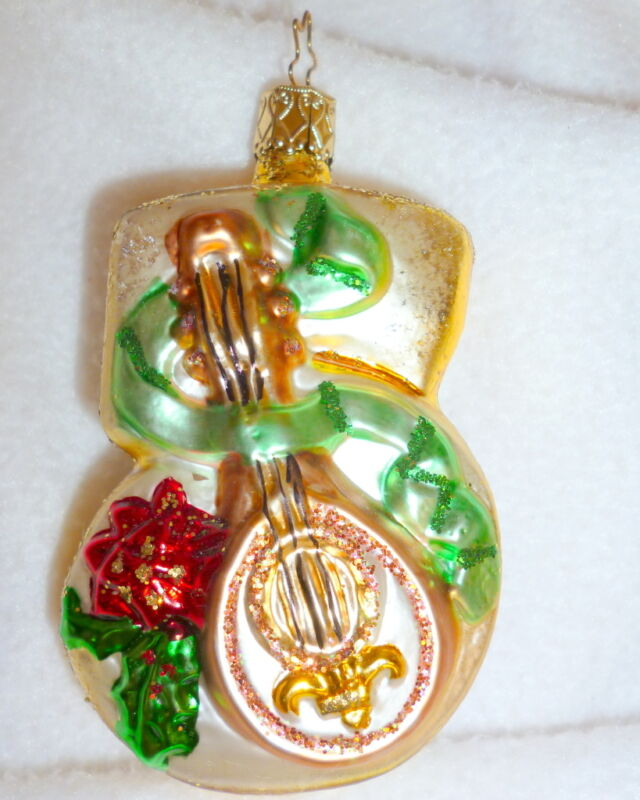 NWOT INGE'S GLASS ORNAMENT NUMBER  5 LUTE GERMANY  3.5""