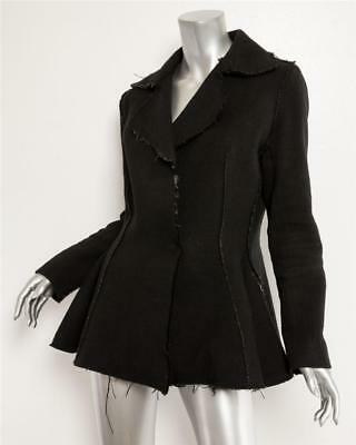 LANVIN WINTER Womens Black Raw Hem Edge Flare Fitted Wool Coat Jacket 8-40 (Lanvin Wool Coat)