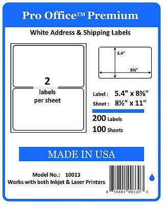 Po13 200 Pro Office Premium Shipping Label Self Adhesive Ebay Paypal Half Sheet