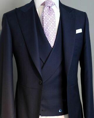 DARK NAVY Men's Wedding Suits Groom Best Man Party Tuxedos Tailored 3 Pieces (Groom Best Man Suits)