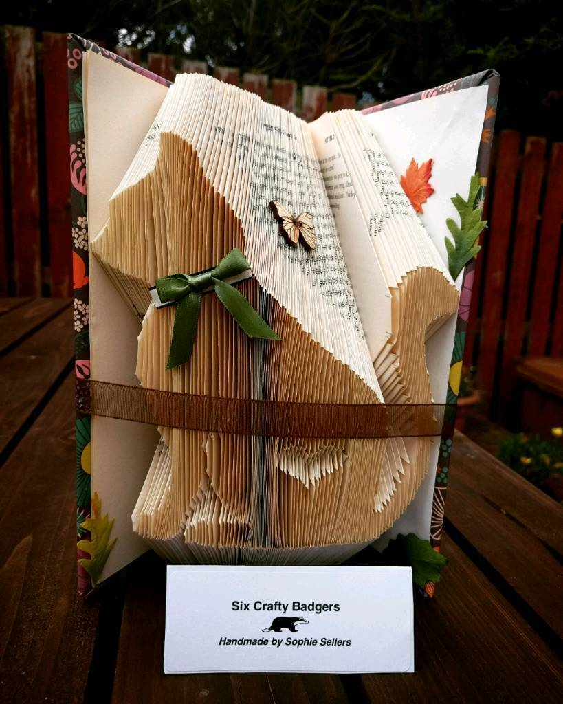 Cat bookfold, handmade gift, cat lover, kitty lover, animal lover, book art, unique gift, xmas gift