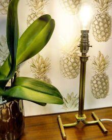 Pipe Industrial Brass Metal Tall Lamp