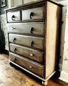 DISTRESSED DRAWER CHEST -UPCYCLED PINE - £85