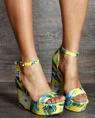 New Floral Tropical Printed Open Toe Wedge Sandal Ankle Strap Platform High Heel (Toe Printed Platform Wedges)