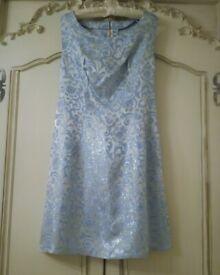 VINTAGE 1960 DRESS Blue Gold Satin Damask Two Tone Lurex Short Silhouette Scoop Neck Bridesmaid Gown
