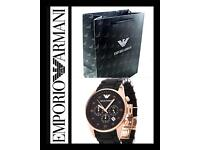 Men's rose gold Armani Watch with gift bag