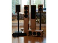 Eltax Hollywood Surround Sound Speaker Set - floor standing front and stands for rear