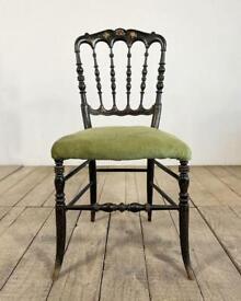 19th Century Antique French Napoleon III Ebonised Velvet Chair