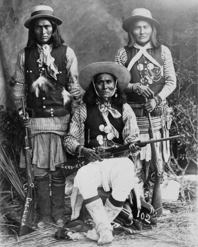 New 8x10 Native American Photo: Three White Mountain Apache Indians with Rifles