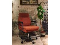 Vintage Retro Orange Office Chair - Fabric Swivel Chair on wheels