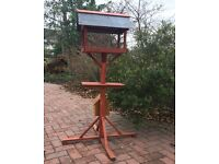 Hand made wooden and welsh slate bird table