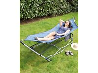 Portable Hammock With Stand in Blue or Grey Colour *Brand New*