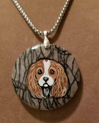 Natural Stone Pendant/Necklace -Hand Painted Cavalier King Charles Spaniel