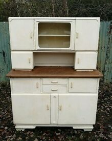 Superb Vintage German Mid Century Kitchen Unit with glass drawers cupboard