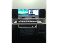 FULL PRO HOME STUDIO SETUP, SPEAKER MONITORS, PIANO KEYBOARD, SOUNDCARD AND CABLES