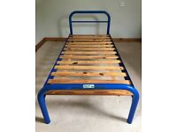 BED FRAME, PIPELINE. Blue bed frame, CAN be painted / color matched to suit your preferences