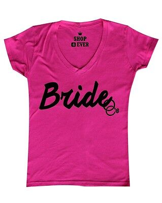 Bride Womens V-neck T-shirt - Bride Black  Women's V-Neck T-shirt Wedding Marriage Bachelorette Party Shirts