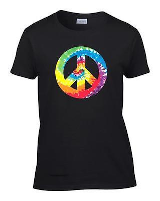 Ladies Tie Dye Peace Sign 80's Retro Women's T-Shirt (Ladies Tie Dye)