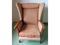 2 WING BACK ARM CHAIRS SHABBY CHIC RESTORATION REUPHOLSTER