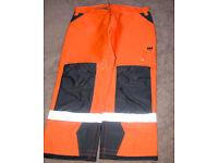 NEW - Helly Hansen Workwear Trousers - Size C56 / 38W 34L - Orange Hi-Viz - Railway / Roads approved