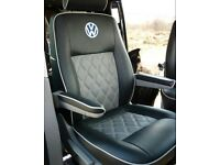 LEATHER SEATCOVERS VOLKSWAGEN TRANSPORTER T3 T4 T5 T6 SHUTTLE ROCK AND ROLL BED