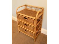"3 Drawer Chest of Drawers Wicker / Rattan H31""/79cm W22""/56cm D15""/38cm"