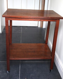 MAHOGANY BUTLERS TROLLEY/ OFFICE TABLE WITH WHEELS